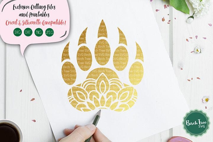 Bear Paw Mandala Svg, Bear Svg Cut File, Paw Svg, Bear Claws
