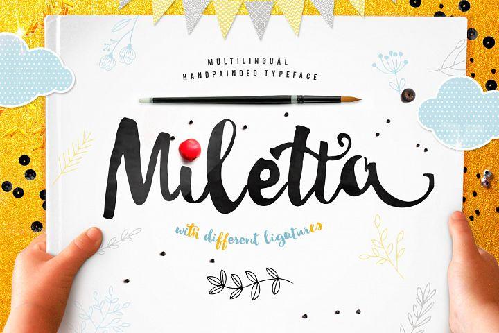 Miletta typeface with ligatures