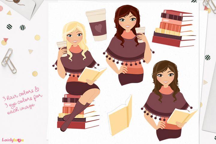 Book lover woman character clip art L285 Brook