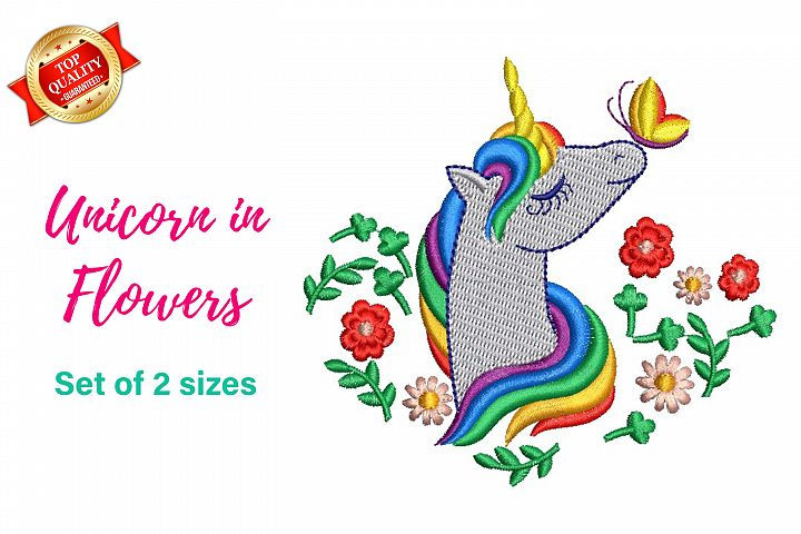 Unicorn in flowers with butterfly - machine embroidery file