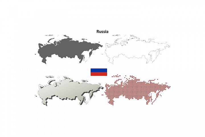 Russia outline map set