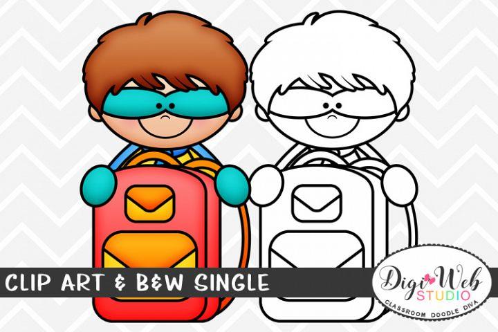 Clip Art & B&W Single - Superhero Boy w/ Backpack Topper