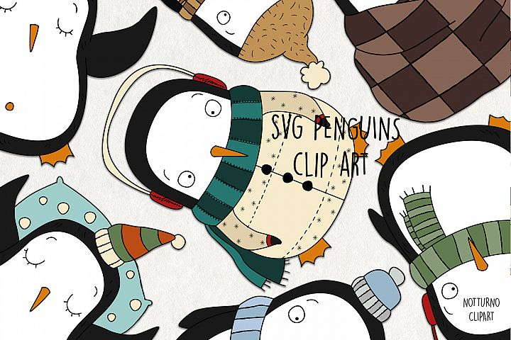 SVG Penguins Clipart for scrapbooking and card making