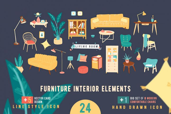 Collection of stylish furniture icons, cover