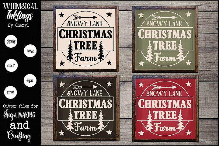 Snowy Lane Christmas Tree Farm SVG