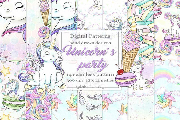 Unicorns party - Digital Pattern
