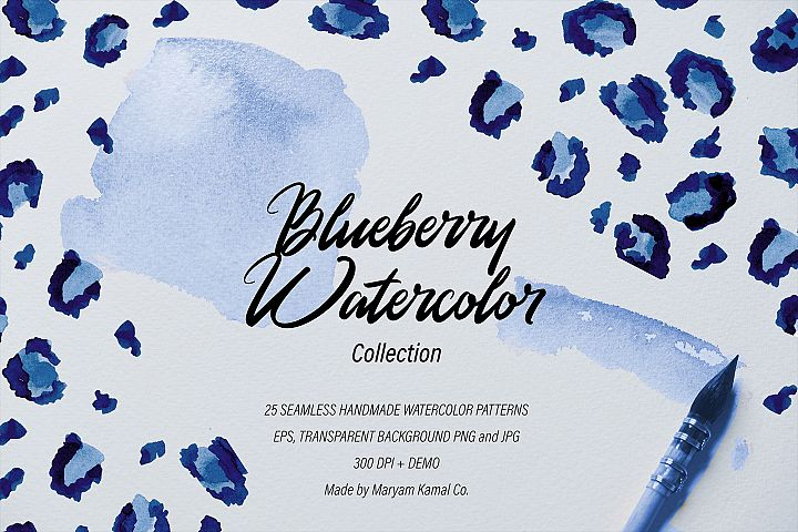 Blueberry Watercolor Pattern Collection