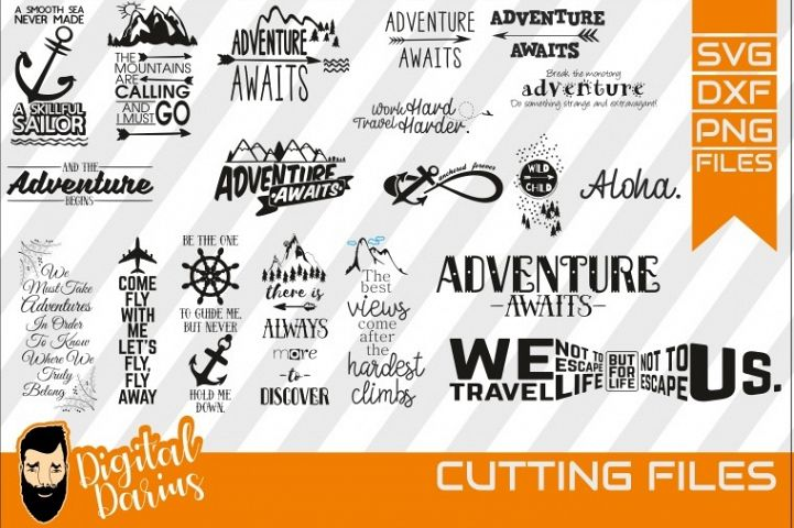 19x Adventure Awaits SVG, Travel Svg, Hobby dxf, Mountains