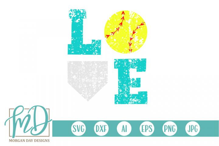 Grunge Softball Love SVG, DXF, AI, EPS, PNG, JPEG