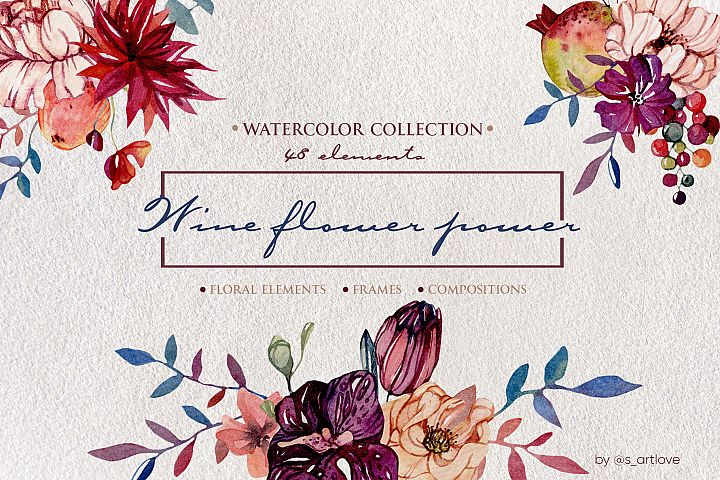 Watercolor graphic Wine Flower Power