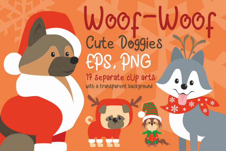 Woof. Cute doggies in Christmas costumes.