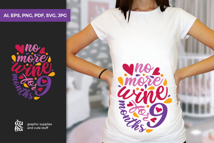 Pregnancy Announcement SVG Cut Files - No more wine