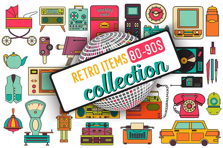 32 retro icons 80-90s collection. - Free Design of The Week Font