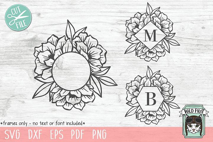 Flower Frame SVG file, Monogram Frame SVG, cut file, shape