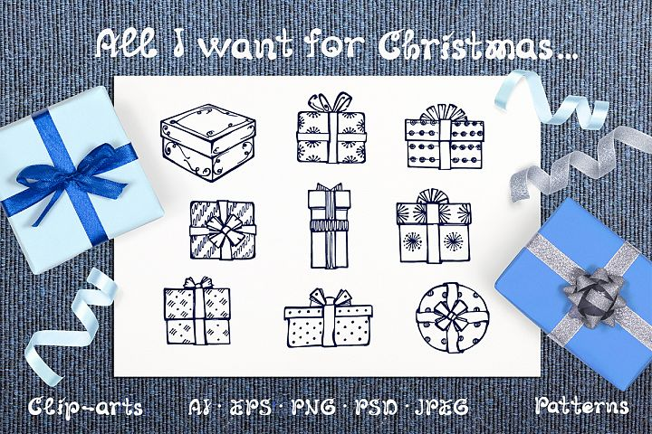 Hand drawn Christmas gift boxes, seamless patterns and cards