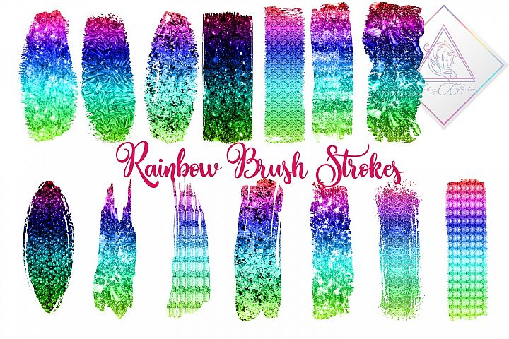 Ombre Rainbow Brush Strokes Clipart