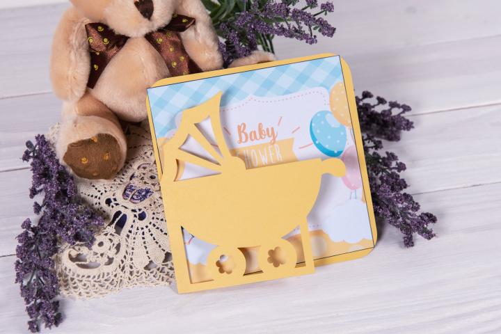 Baby Stroller Invitation cutting file