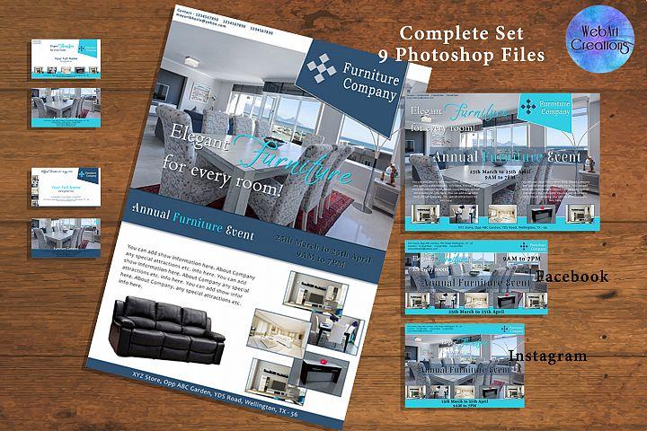 Furniture store Flyer & Social Media Marketing Set