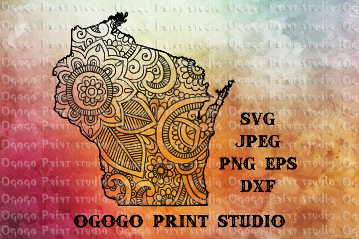Wisconsin SVG, Zentangle SVG, Travel svg, Mandala svg