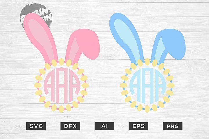 Easter Monogram Frames Bunny SVG - Happy Easter SVG Files