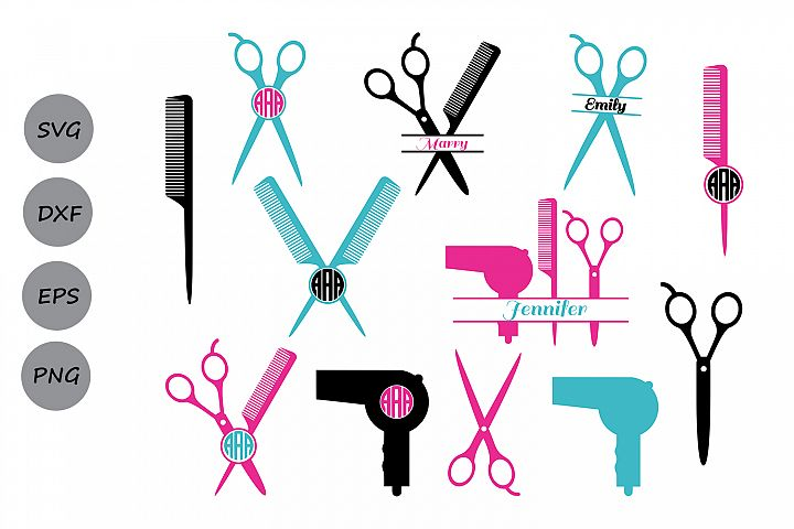 Hairdresser SVG, Hairstylist SVG, Hairdresser Monogram Svg.