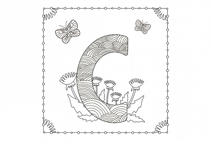 Letter C. Flowers. Coloring page.