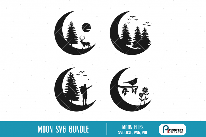 Moon Silhouette svg Bundle - moon svg cut files