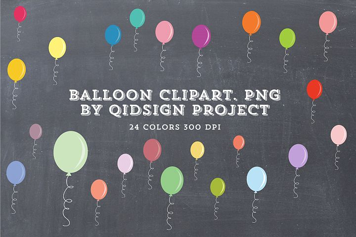 24 Color Balloon Clipart