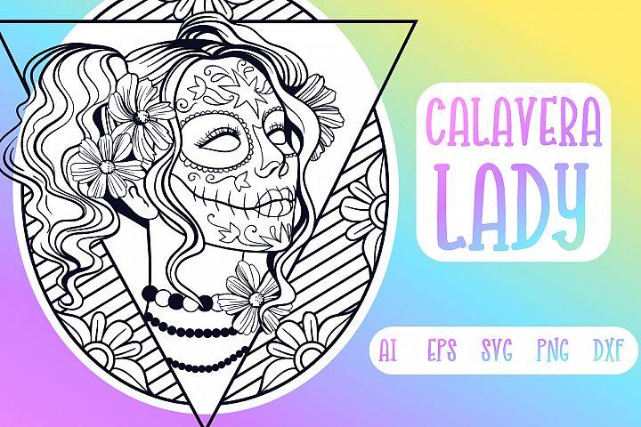 Calavera Lady SVG cut file