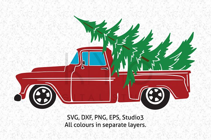 Christmas Truck with Tree SVG DXF PNG EPS vector files, Christmas tree farm, Old truck, Red truck