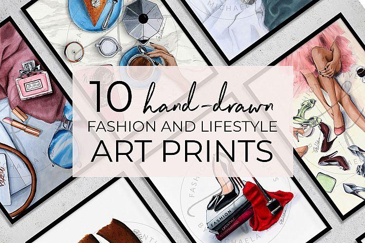 10 Art Prints, Fashion Illustration Art,printable art