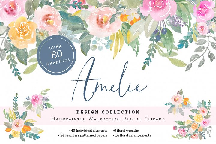 Amelie Watercolor Flower Clipart