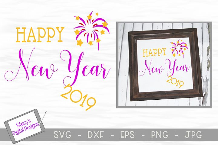New Year SVG - Happy New Year 2019 with fireworks