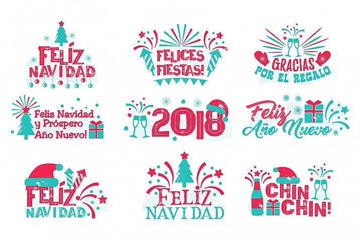 Happy new year spanish set.