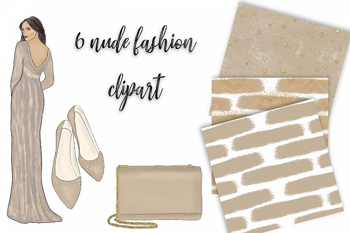 Fashion clipart in nude colour. 6 png elements