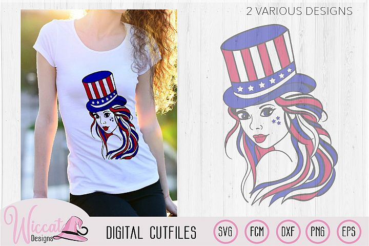 American girl svg, fourth of july, Usa girl svg, vector