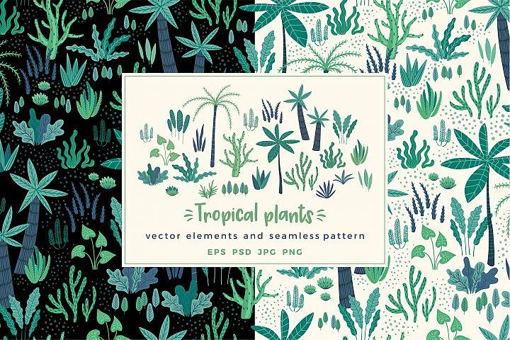 Tropical plants. Elements & pattern