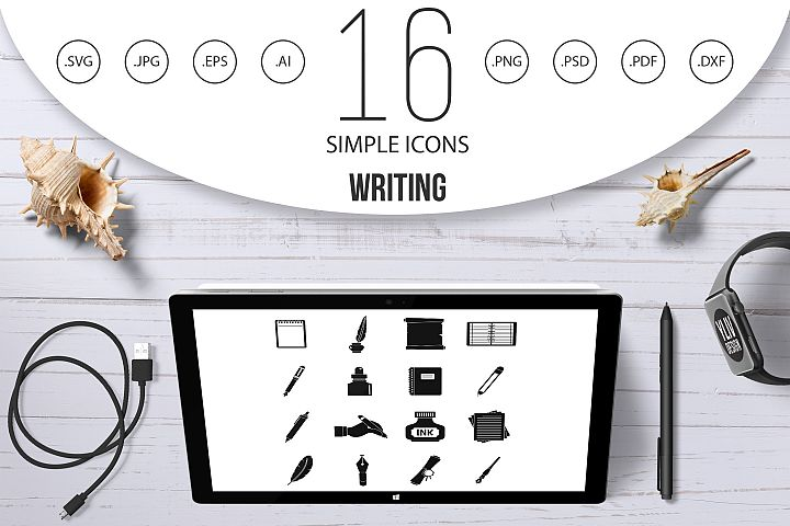 Writing icons set items, simple style
