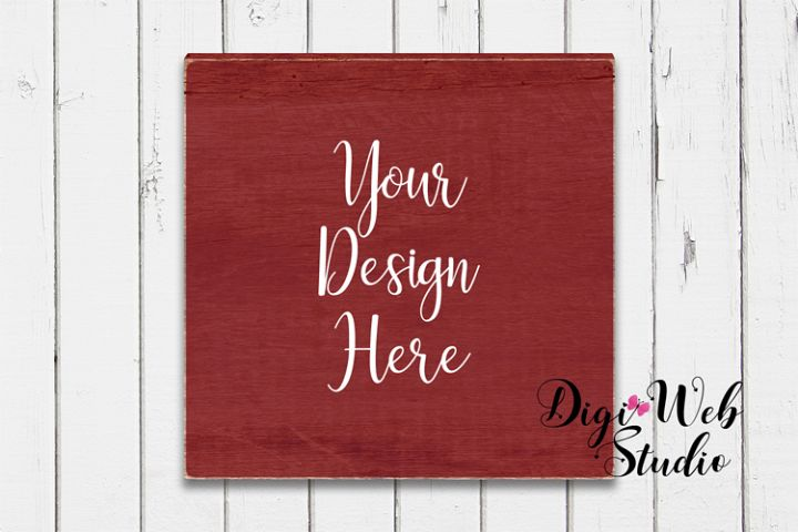 Wood Sign Mockup - Painted Wood Sign on Rustic White Shiplap