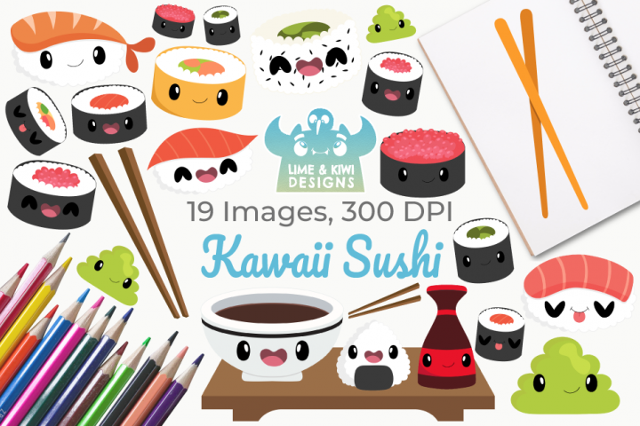 Kawaii Sushi Clipart, Instant Download Vector Art