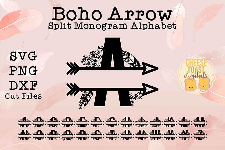 Boho Arrow Split Monogram Alphabet A-Z SVG PNG DXF Cut Files