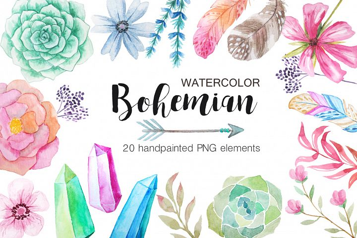 Watercolor Bohenian Nature Set - Free Design of The Week Font