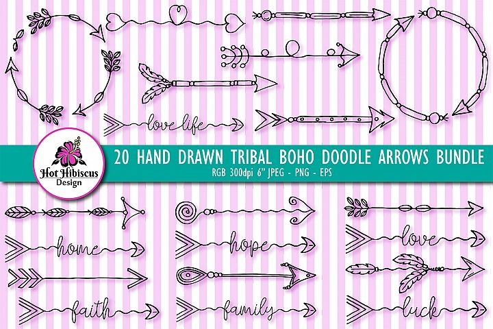 Hand Drawn Tribal Boho Doodle Arrows Clipart Bundle