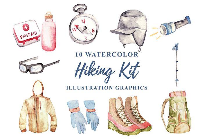 10 Watercolor Hiking Kit Illustration Graphics