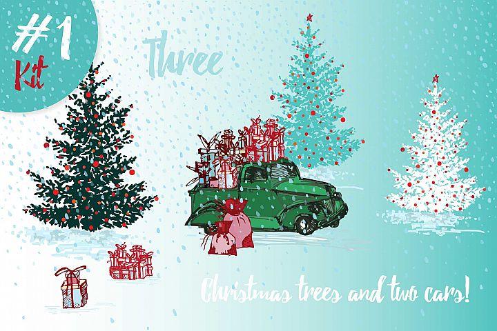 Hand drawn sketch Christmas tree and holiday cars