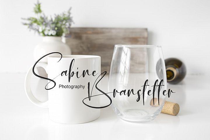 Styled Stock Photo Coffee Mug And Stemless Wine Glass Mockup
