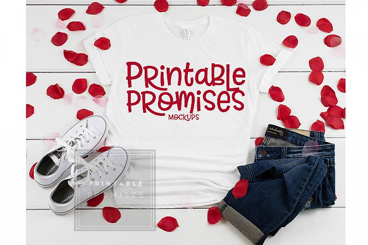 Bella Canvas 3001 White Shirt Valentine Shirt Mockup