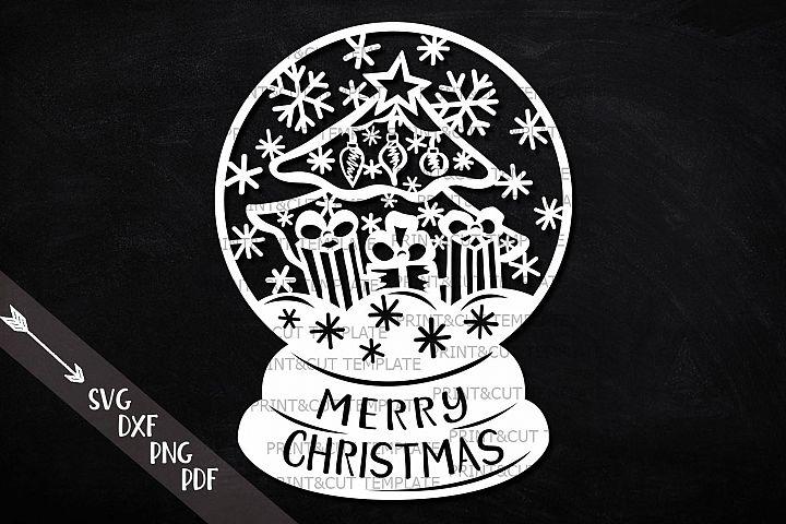Christmas scene globe svg dxf pdf paper vinyl cut file
