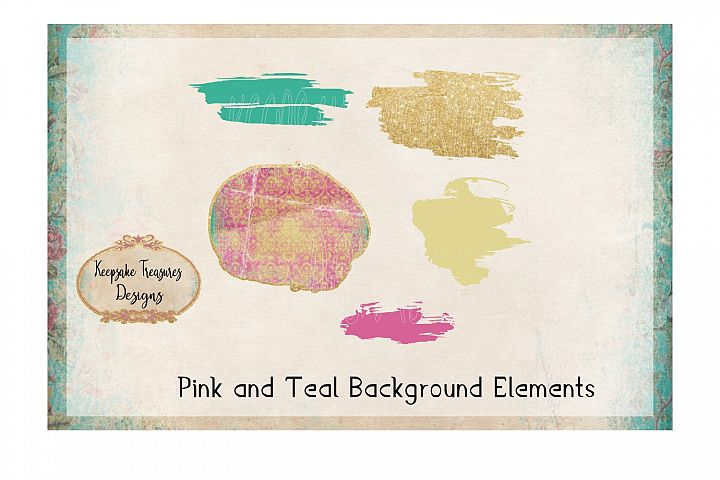 Pink and Teal Background Elements