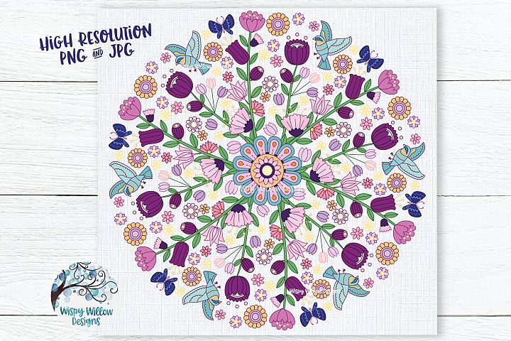 Floral Color Mandala | PNG and JPG | Sublimation